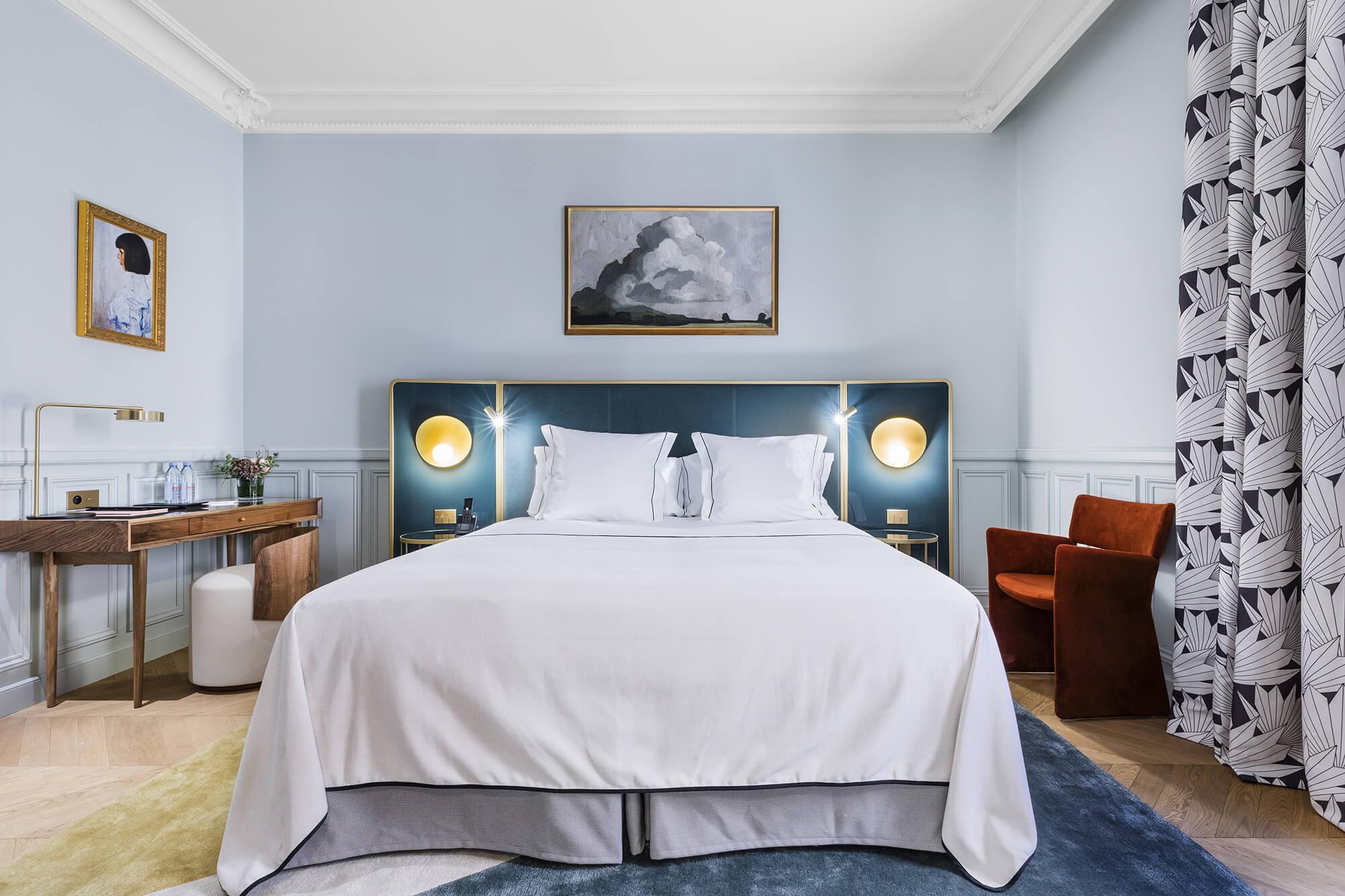 Chambre Supérieure, bleu, Grand Powers, hôtel, Paris 8ème