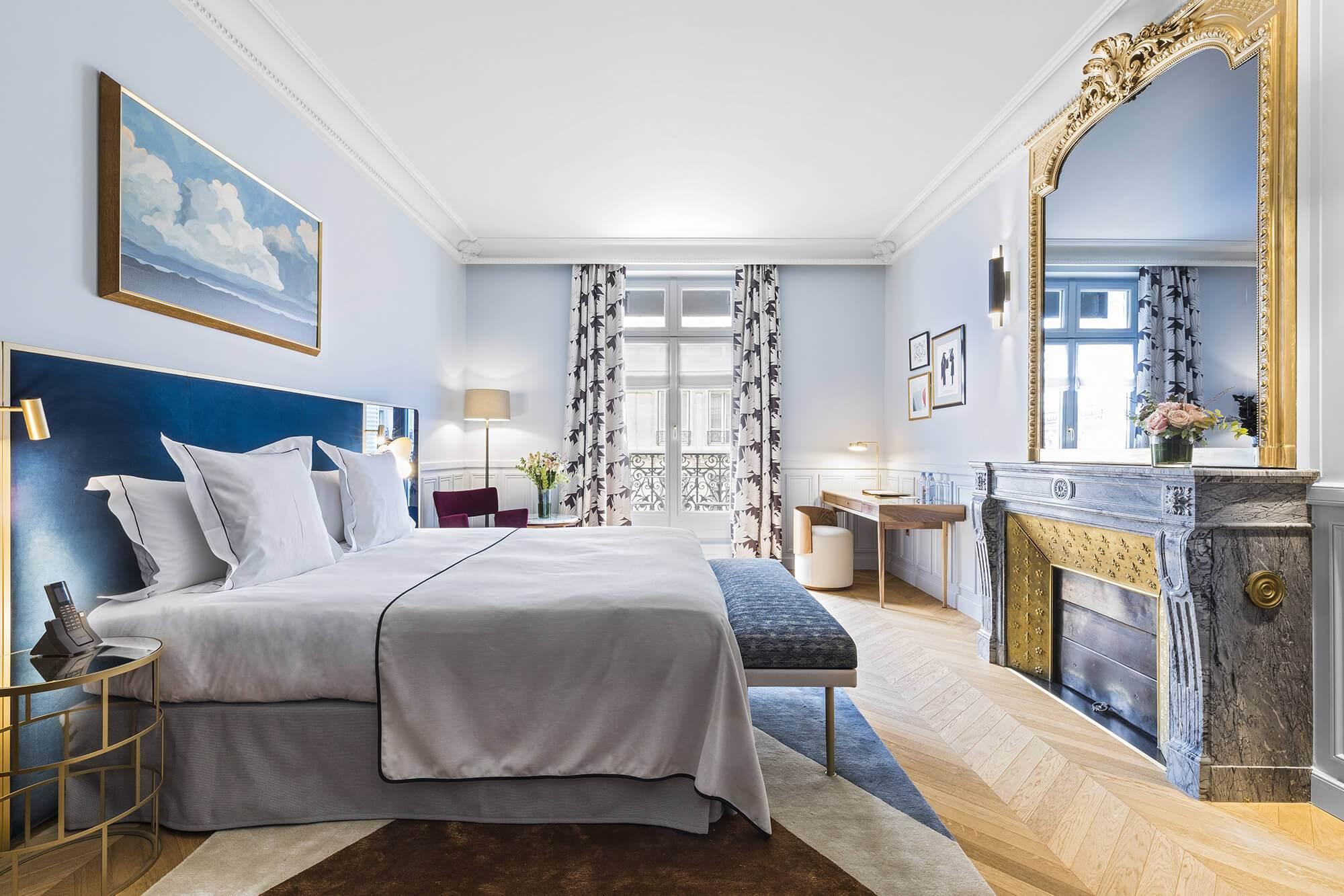 Chambre Executive bleu, vue, Grand Powers, hotel, Paris 8ème