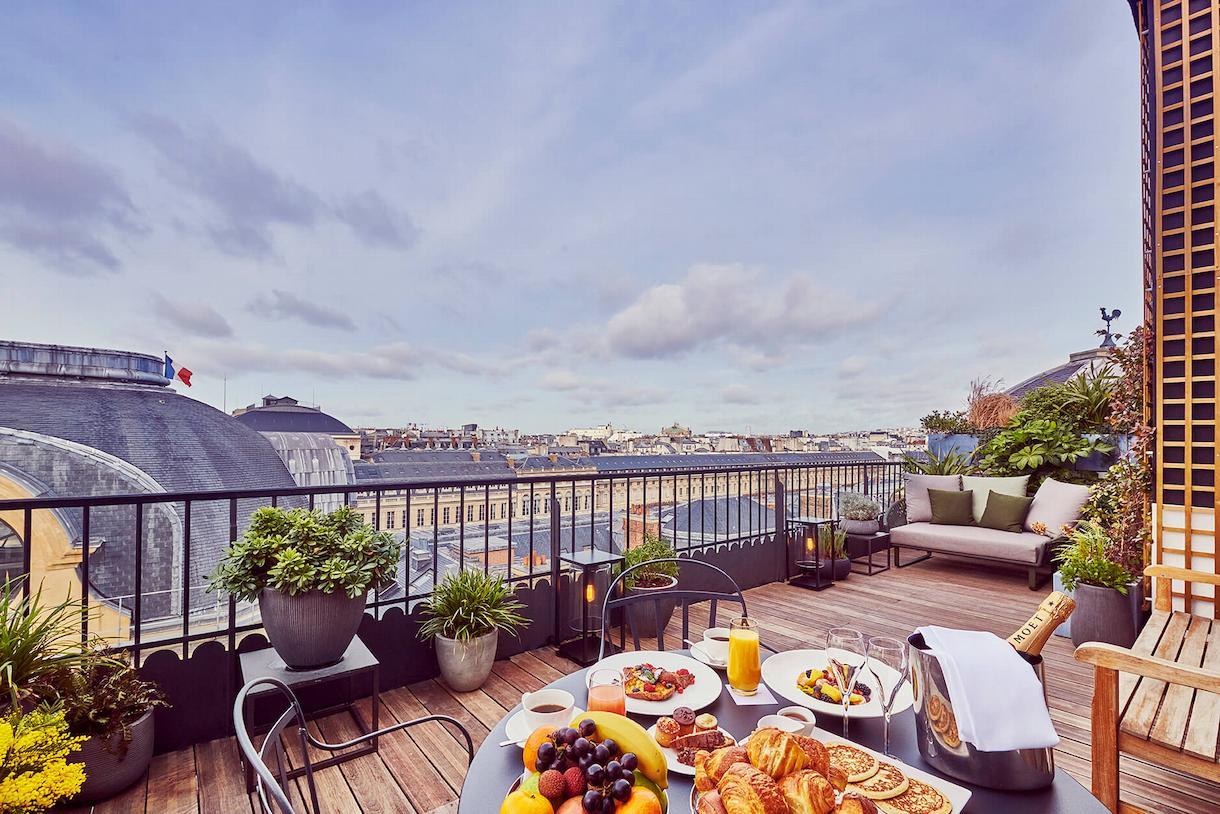 Panoramic Suite, terrace view, Grand Hôtel du Palais Royal, Paris 1st